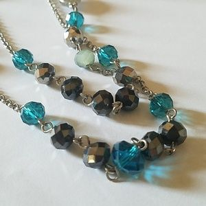 Gorgeous 2 layered beaded necklace in blues/grays.